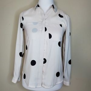 Ann Taylor Loft Polka dots blouse